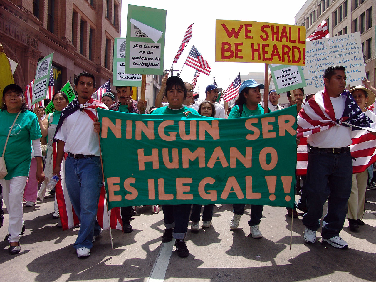 Protesters at May Day immigration march